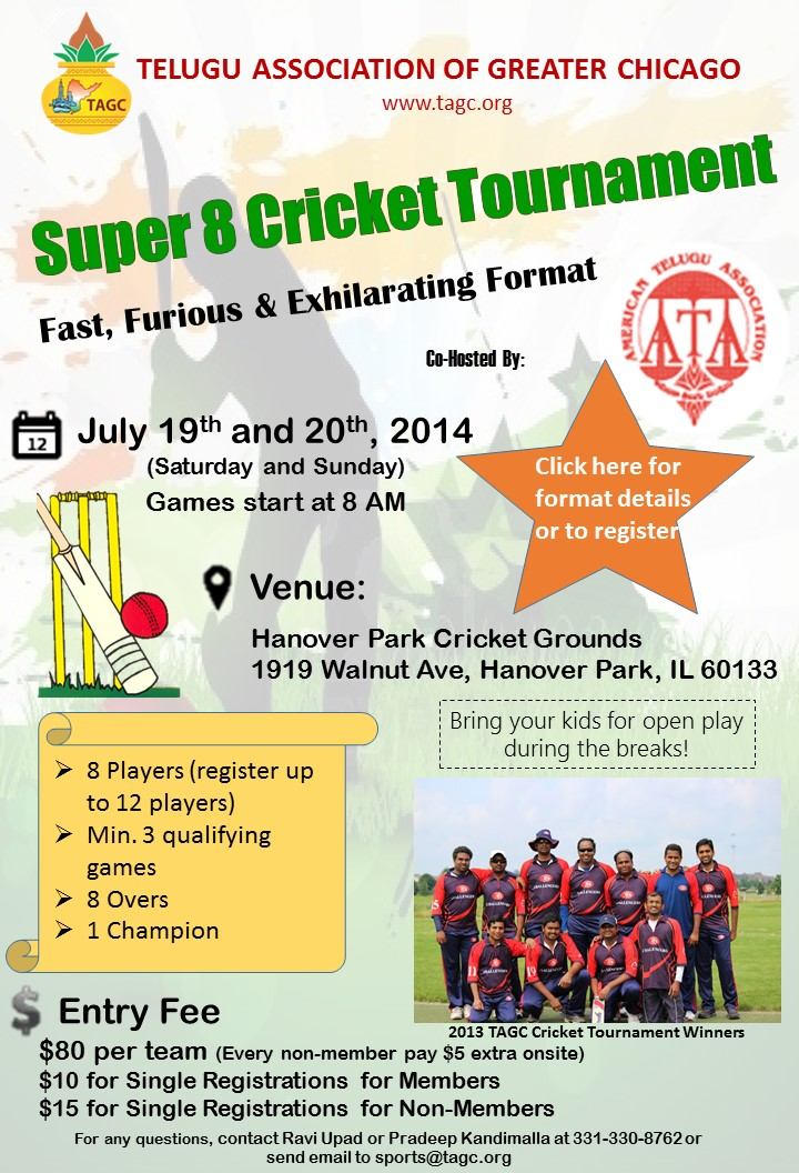 Cricket Tournament Anouncment Wording: Telugu Association Of Greater